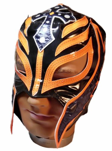 WWE Rey Mysterio Children's Replica Mask Black With Orange Trim Kid Size (For Wwe Rey Kids Mask Mysterio)
