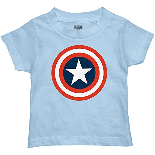 Marvel Boys' Captain America T-Shirt (3T, Light Baby Blue)