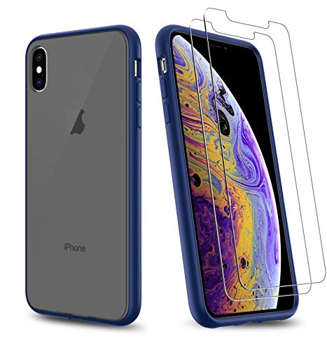 Uniwiland 2-in-1 iPhone Xs Max Case with 2 Packs Screen Protector, Matte Black Clear Back Drop Protection Frosted Case & HD Tempered Glass Screen Protector for iPhone Xs Max (Blue)