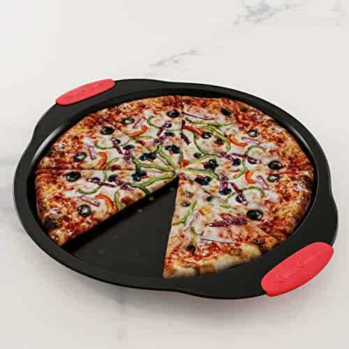 """Classic Cuisine 82-KIT1092 Pizza Pan and Cutter Set 13"""" Nonstick Crisper Tray with Vent Holes for Even Cooking and Easy Grip Silicone Handles-Kitchen Bakeware"""