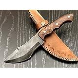 """Ash DA35 damascus steel handmade hunting tracker knife 10"""""""