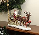 "12"" Santa Claus Sleigh and Reindeer Glitterdome Snow Globe Christmas Table Top Figure"