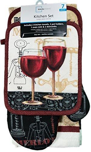 Mainstays 7 Piece Kitchen Set, Wine