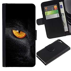 [Neutron-Star ] Modelo colorido cuero de la carpeta del tirón del caso cubierta piel Holster Funda protecció Para Apple iPhone 5 / iPhone 5S [Black Cat Fire Eye]