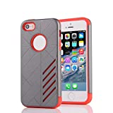 """Happy Hours - 2 in 1 Shockproof Cover Case for iPhone 5G/5S/SE 4"""" / Creative Hard Plastic Shell and Soft TPU Dual Layer Hybrid Shell For Apple(Grey Red)"""