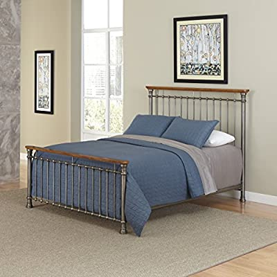 Home Styles The Orleans Bed - Vintage caramel finish Constructed of powder-coated metal with poplar solids French Quarter architecture - bedroom-furniture, bed-frames, bedroom - 51KXM b3lmL. SS400  -