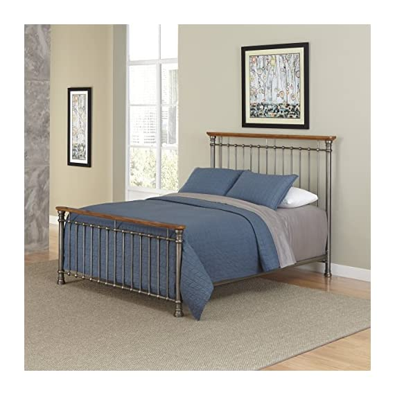 Home Styles The Orleans Bed - Vintage caramel finish Constructed of powder-coated metal with poplar solids French Quarter architecture - bedroom-furniture, bedroom, bed-frames - 51KXM b3lmL. SS570  -
