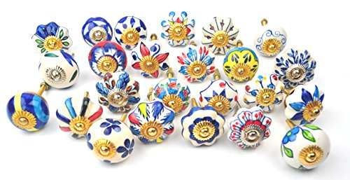 (Set of 24 Blue and white hand painted ceramic pumpkin knobs cabinet drawer handles pulls)
