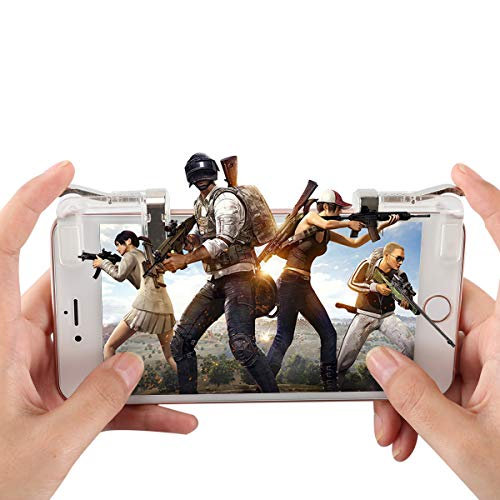 Mobile Game Controller, Aimus L1R1 Sharpshooter Mobile Joystick Aiming Triggers for PUBG/Knives Out/Rules of Survival, Fits for 4.5-6.5inch Android Phone/iPhone [1 Pair, Upgraded Metal Edition] (Cl