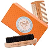 Facial Bones Routine - Beard Comb & Brush Grooming Set By Level Lumberjack | Works With Balm, Wax and Oil | Wooden Care Products for Facial Hair, Moustache Maintenance and Growth | 3 Piece Gift Kit