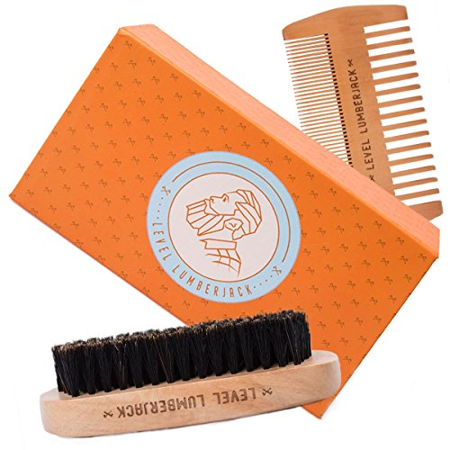 Beard Comb & Brush Grooming Set By Level Lumberjack | Works With Balm, Wax and Oil | Wooden Care Products for Facial Hair, Moustache Maintenance and Growth | 3 Piece - Styles Hair Popular Facial