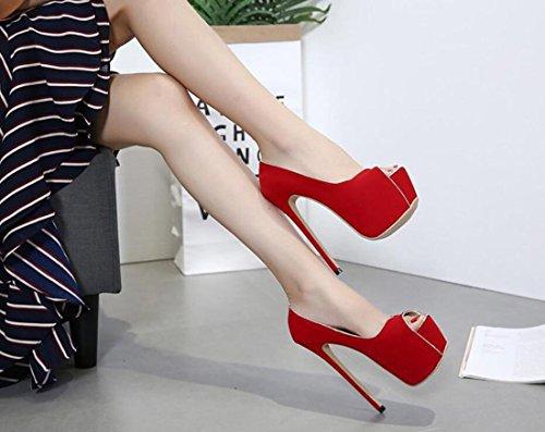 Rojo Pescado Boca Moda Atractivas Tacón De Para Del Fiesta Elegantes Sandalias Altos Mujer Aguja Zapatos Tacones Banquete w4aHTT