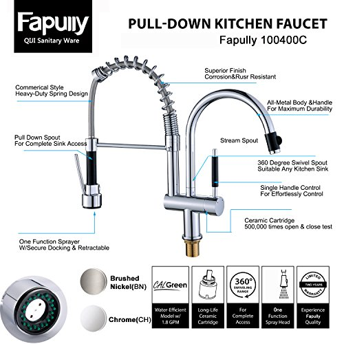 Commercial Pre Rinse Kitchen Faucet Pull Out Sprayer Chrome