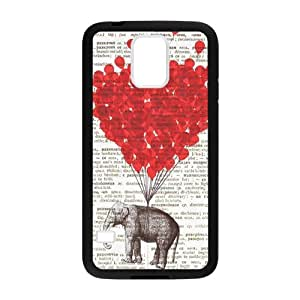 SKCASE Cover Case for Samsung Galaxy S5 I9600 Funny Cute Elephant Love Heart Happy Valentine's day present for girlfriend or boyfriend