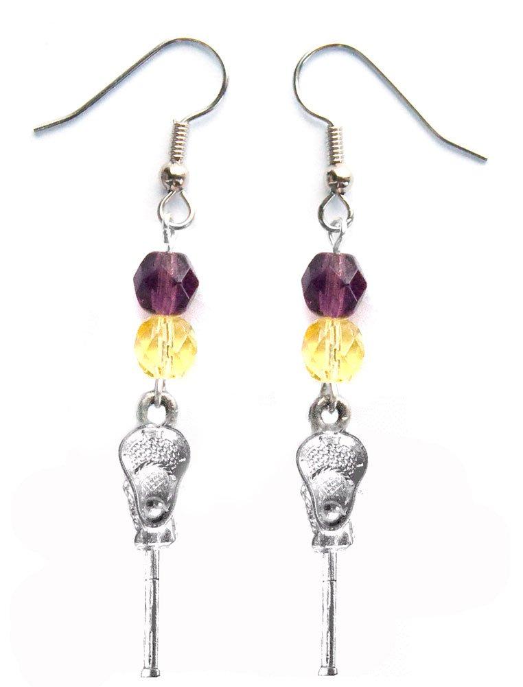 ''Lacrosse Stick & Ball'' Lacrosse Earrings (Team Colors Purple & Yellow)