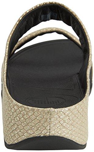 Fitflop Lulu (Snake) Slide - Sandalias de otra piel mujer Plata (plateado)