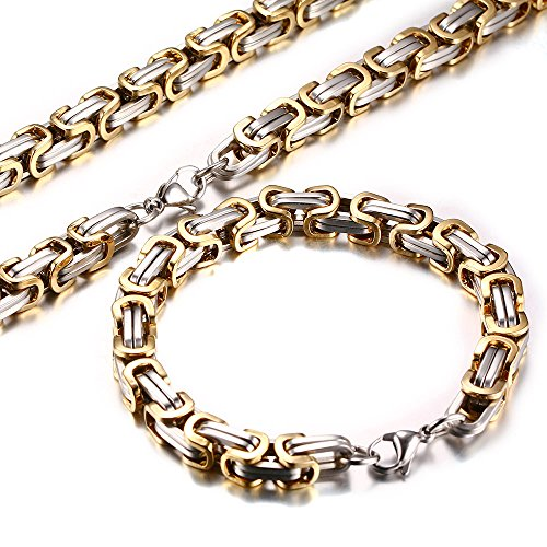 Men's Stainless Steel Mechanic Chunky Byzantine Chain Bracelet and Necklace Jewelry Set, 9