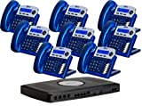 X16 6-Line Small Office Phone System with 8 Vivid Blue X16 Telephones - Auto Attendant, Voicemail, Caller ID, Paging & Intercom