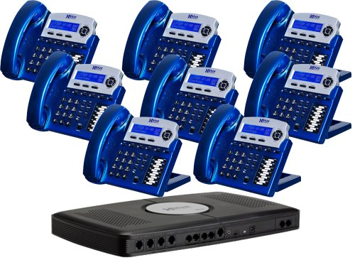 X16 6-Line Small Office Phone System with 8 Vivid Blue X16 Telephones - Auto Attendant, Voicemail, Caller ID, Paging & Intercom by Xblue