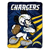 Officially Licensed NFL San Diego Chargers Mickey Mouse Ultra Plush Micro Super Soft Raschel Throw Blanket
