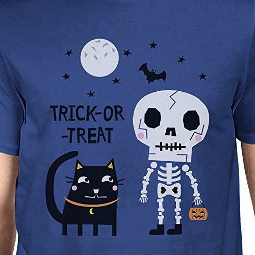 Trick 365 Taille Courtes Printing Black Homme treat Blue Manches Cat T Unique Skeleton or shirt RYUqFR