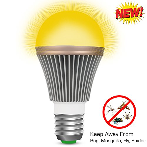 Light Yellow Bug Bulb Repellent (Mosquito Repellent Light Bulb, AUKO Bugs Zapper Spider Insect Pest Repel Control Yellow LED Lamp for Indoor Outdoor Garden Patio Yard 2 Years Warranty 110V E27/26 5W(50W Replacement))