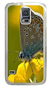 slim Samsung S5 cases Furry Butterfly Animal PC Transparent Custom Samsung Galaxy S5 Case Cover
