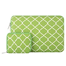 Mosiso Quatrefoil Style Canvas Fabric Laptop Sleeve Bag Cover for 13-13.3 Inch MacBook Pro, MacBook Air, Notebook with a Small Case, Greenery