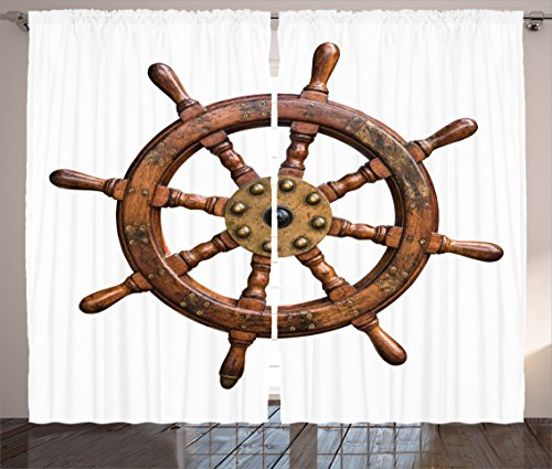 Ambesonne Ships Wheel Decor Collection, Wooden and Brass Ship Steering Wheel Antique Aged Historic Natural Decoration, Living Room Bedroom Curtain 2 Panels Set, 108 X 84 Inches, Brown White ()