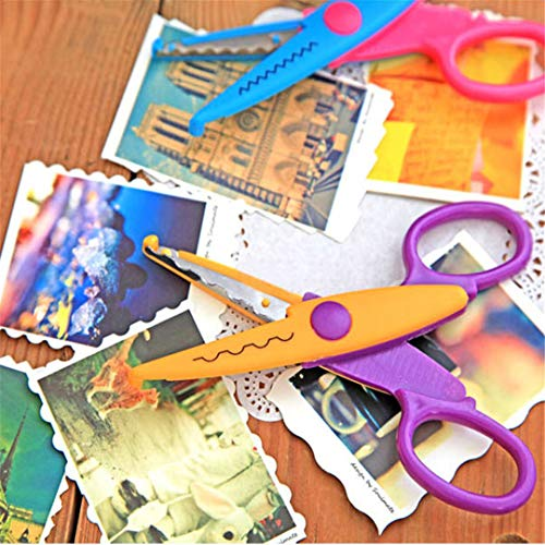 H-Honetuk 6 Style DIY Scrapbooking Paper Photo Album Children Accessories Plastic Lace Card Decoration Zigzag Scissors for Needlework Random