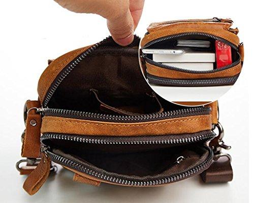 14x6x15cm Pecho de 1 Bolsos Hombre Hombro Mochila Bolsa Resistentes Cuero Bolsos Autentico Pequeña Piel de Sucastle y Bandolera Bolso 1 gH7qTT