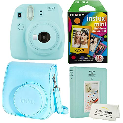 Fujifilm Instax Mini 9 Polaroid Ice Blue Instant Camera Plus Original Fuji Case, Photo Album and Fujifilm Character 10 Films (Rainbow)