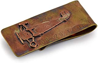 product image for Artisan-Crafted Bronze Money Clip with Red Baron Fokker Aircraft Design, American Made