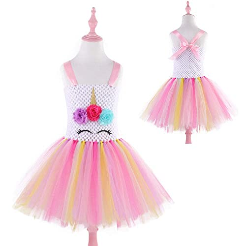 3b8ac37633 Amazon.com: Pastel Rainbow Flower Girls Dress Princess Unicorn Party Dresses:  Handmade
