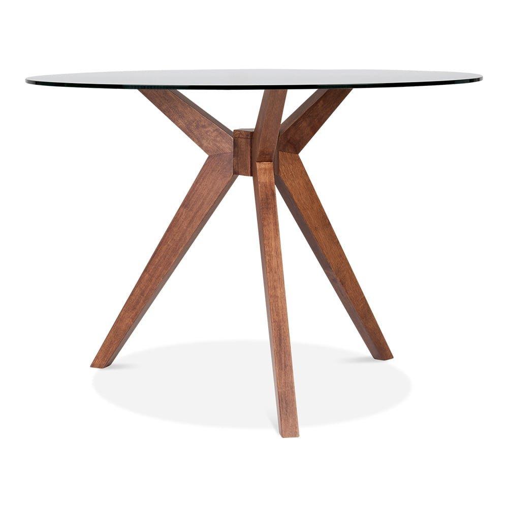 vallentuna mesa de comedor redonda de cristal - nogal 75 cm ...