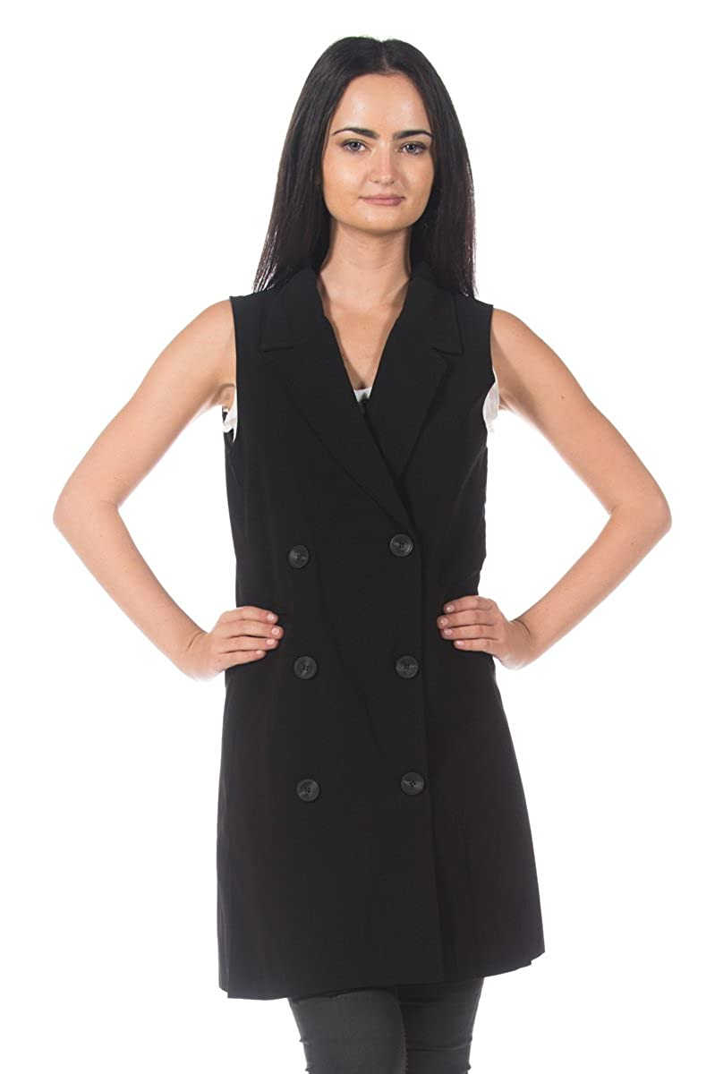 Women's Black Double Breasted Trench Coat Style Dress Long Blazer Waistcoat Vest