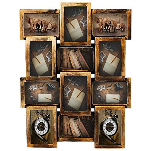 Bronze Fall Wall Frame - Jerry & Maggie - Photo Frame 23X18 Retro Bronze Finish PVC Picture Frame Selfie Gallery Collage Wall Hanging for 6x4 Photo - 12 Photo Sockets - Classic Loyalty Style - Wall Mounting Design