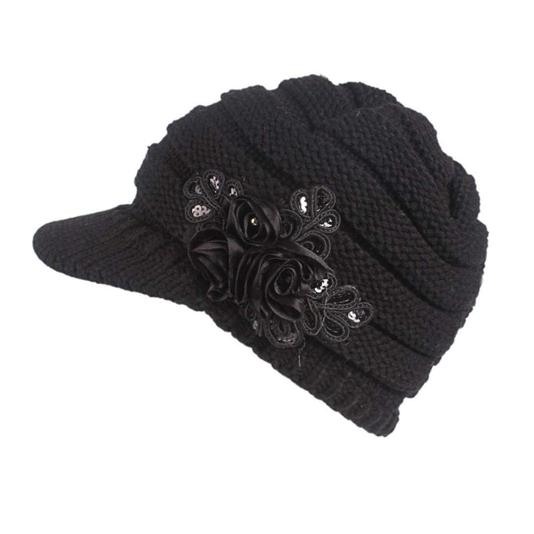 421ba87f0a9 Princer Womens Winter Warm Knitted Hats Slouchy Beanie Hat Cap with Visor  (Black)  Amazon.co.uk  Shoes   Bags