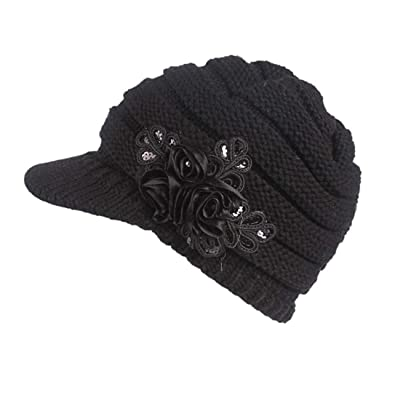 1d35d70159c Princer Womens Winter Warm Knitted Hats Slouchy Beanie Hat Cap with Visor  (Black)