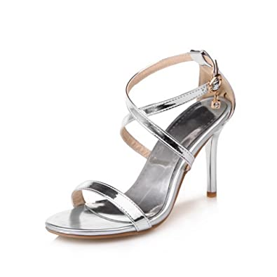 5a92e2401454 AN Womens Huarache High-Heels Baguette-Style Silver Urethane Sandals  DIU00763-7.5 UK  Amazon.co.uk  Shoes   Bags