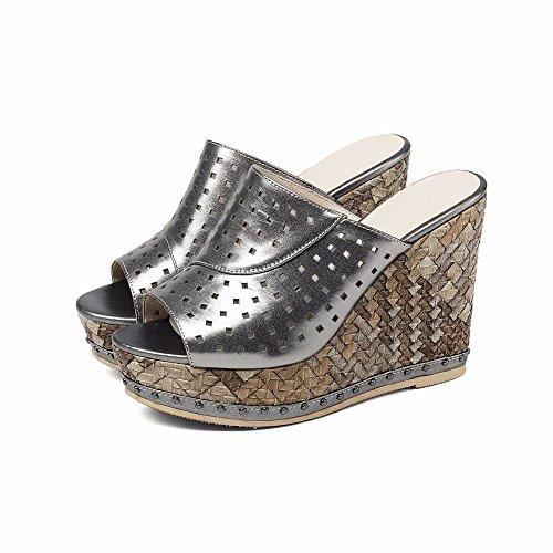 Mujer Tacón Pescado Con Nuevas Hueca Sandalias Europa Para Y Bfmei Mujeres De América Negro Cuero Alto Zapatos Boca wagSSOXqA