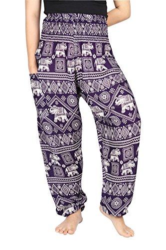 Boho Stamp Lofbaz Elephant Funky Donna Smocked Pants Scuro Viola Waist Harem H8tf8