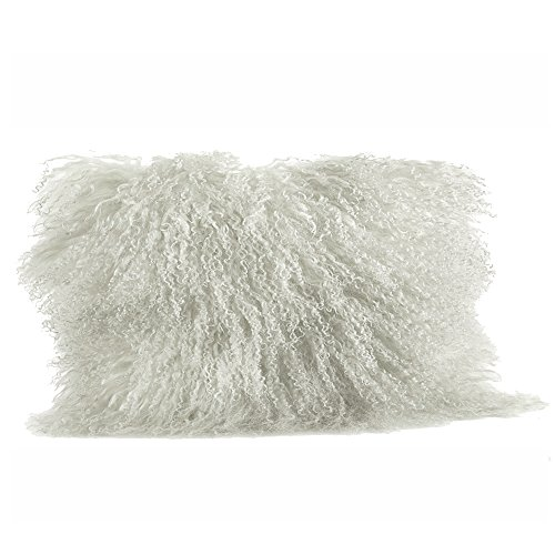(Occasion Gallery Ivory Color Real Mongolian Lamb Fur Pillow, Filled. 12 Inch X 20 Inch)