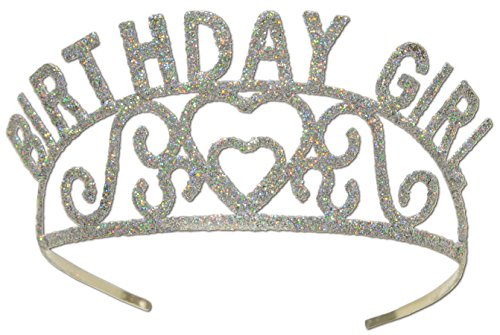 Beistle 60632 Glittered Metal Birthday Girl Tiara (Best Jobs For 13 Year Olds)
