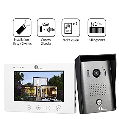 1byone Video Doorphone 2-Wires Video Intercom System with 7-inch Color Monitors, Surface Mounted HD Camera Doorbell and 49ft Cable