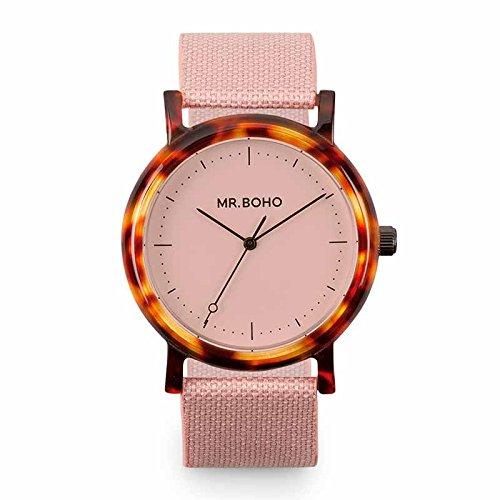 Reloj Mr.BOHO 36mm Mujer en Color Rosa Correa Poliester. 00728661: Amazon.es: Relojes