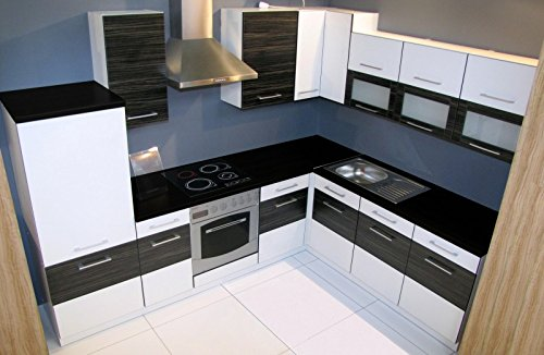 Winkelküche Jessy 270 x 220cm Küchenzeile / Küchenblock variabel stellbar in weiss /merapi