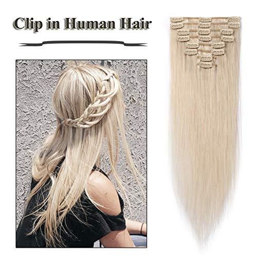 Clip in Human Hair Extensions Bleach White 18 inch 70g Silky Straight 100% Human Hair 8pcs Set Full Head Clip on for Women (18