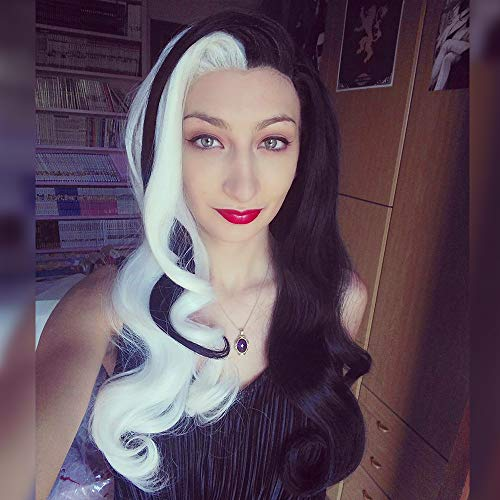 Imstyle Cruella de vil Wig Costume Lace Front Wig for Women Half White Half Black Long Synthetic Natural Wavy Hair 24 Inch Heat Resistant Natural Hairline Wig -