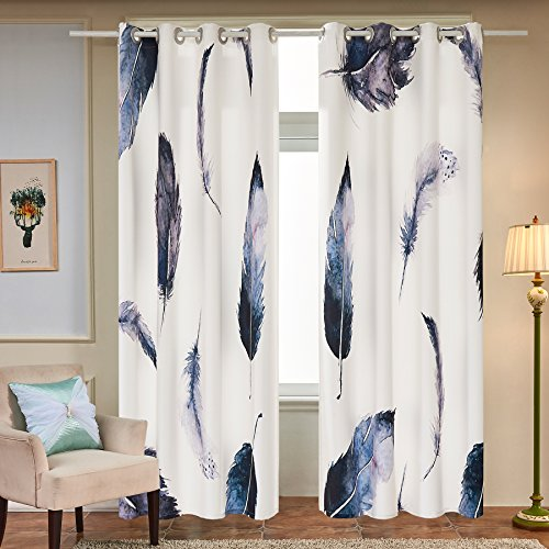 Fassbel 2 Panel Set Digital Printed Window Curtains for Bedroom Living Room Dining Room Kids Youth Room Window Drapes (W54× L84 Feather) - bedroomdesign.us